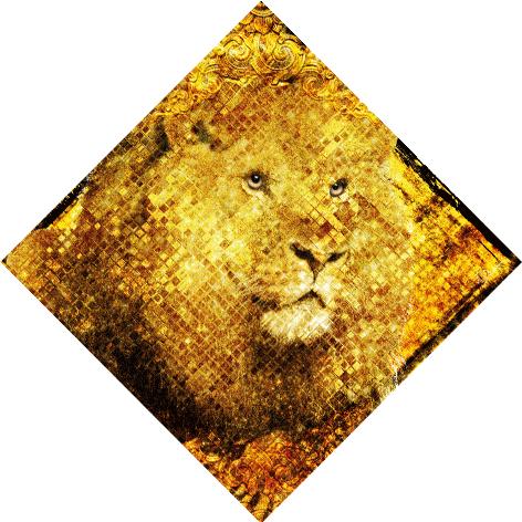 "Aluminium schilderij ""Bas – Golden lion"" van Mondiart"