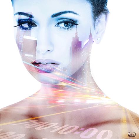 """Aluminium schilderij """"Bas – Highway girl 1"""" van Mondiart"""