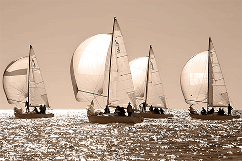 "Aluminium schilderij ""Sailing regatta in Greece"" van Mondiart"