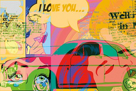 """Aluminium schilderij """"I love you"""" van Mondiart"""