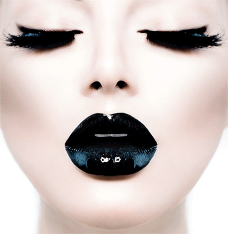Girl black lips closed eyes