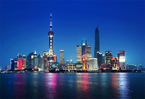 "Aluminium schilderij ""Skyline Shanghai"" van Mondiart"