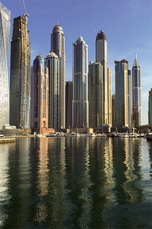 "Aluminium schilderij ""Skyline Dubai"" van Mondiart"