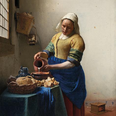 """Aluminium schilderij """"Het melkmeisje"""" van Mondiart"""