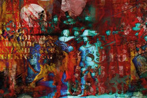 """Aluminium schilderij """"Bas – Nachtwacht 2.1"""" van Mondiart"""