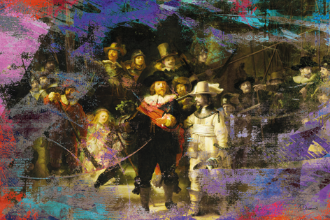 """Aluminium schilderij """"Bas – Nachtwacht 2.3"""" van Mondiart"""