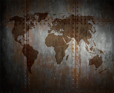 Wereldkaart op glas