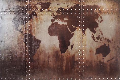 """Metalen schilderij """"Wereldkaart metaal"""""""