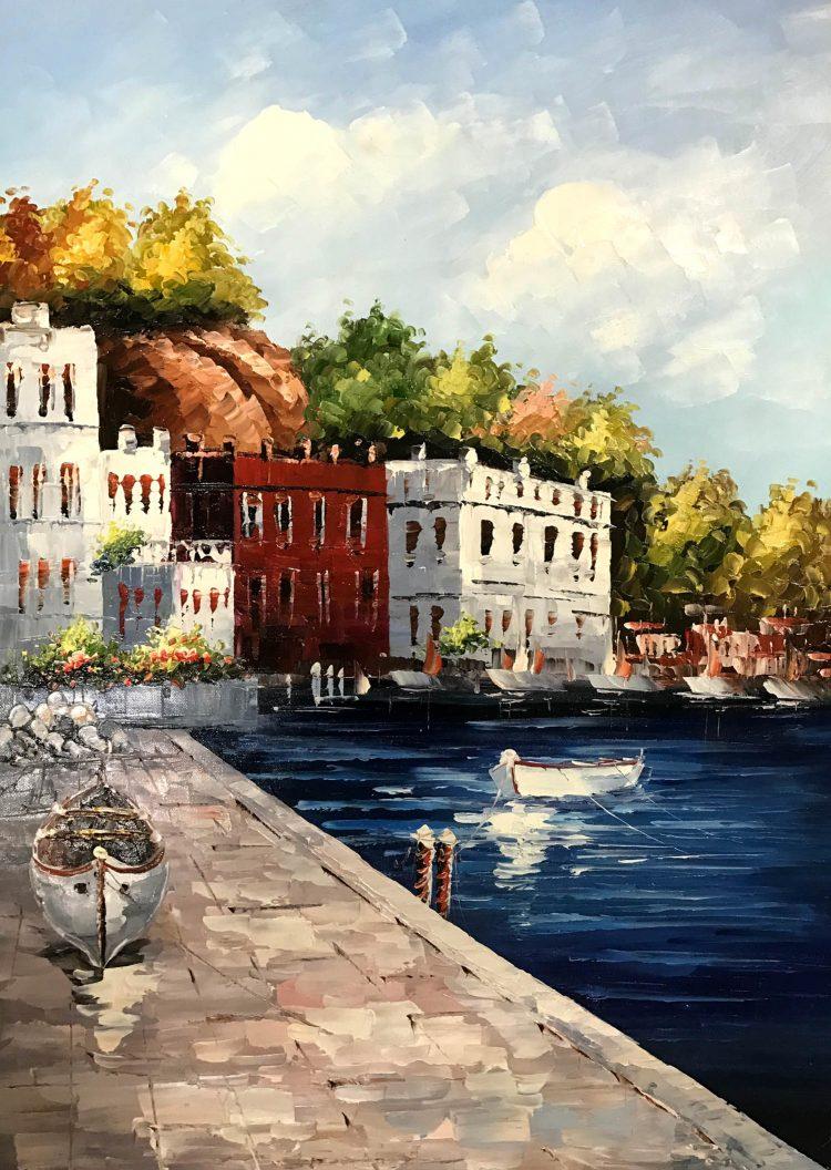 """Schilderij """"Boulevard met bootjes"""""""
