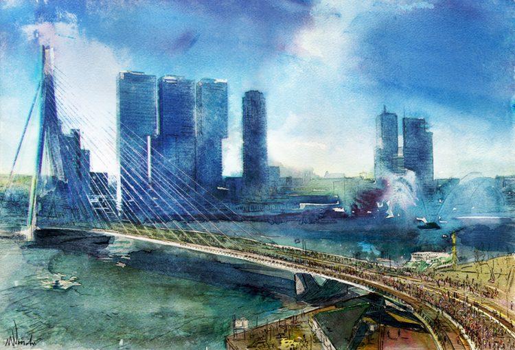 """Aluminium schilderij """"Marathon Rotterdam"""" van Wim Noordam"""