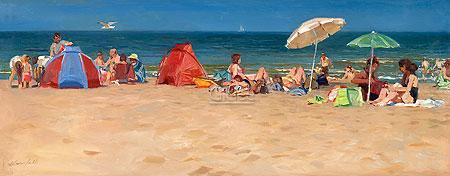 Strand op zomerdag