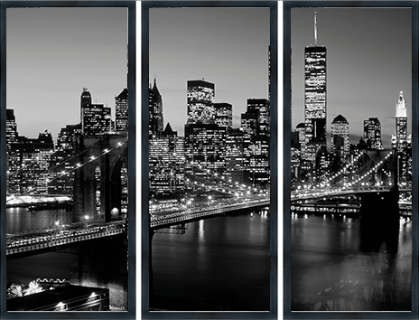 "Ingelijste poster ""Drieluik Brooklyn Bridge"" van Mondiart"