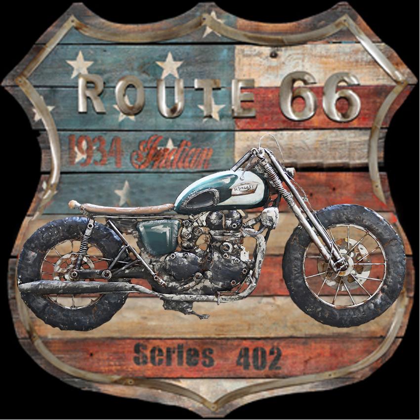 metalen schilderij oranje motor route66 series 402 416