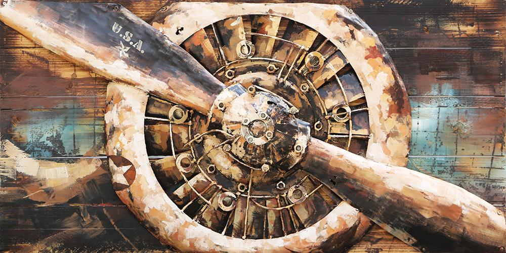 3d Schilderij Metaal.Propellor Usa