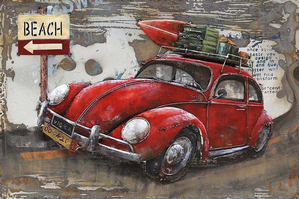 metalen schilderij rode volkswagen kever beach 402