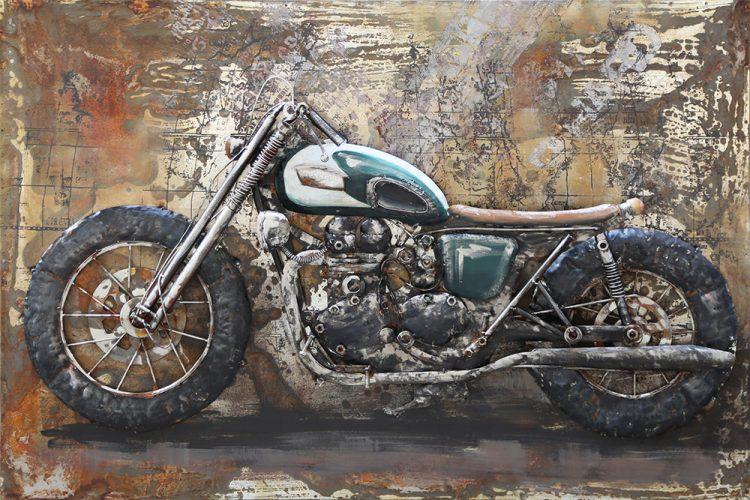"""Metalen schilderij """"Stoere motor"""""""