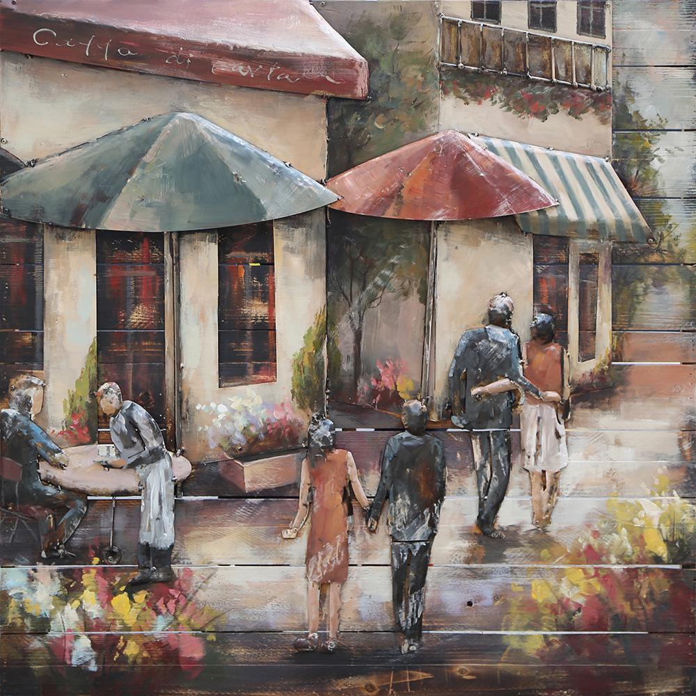 metalen schilderij van en naar het cafe 400