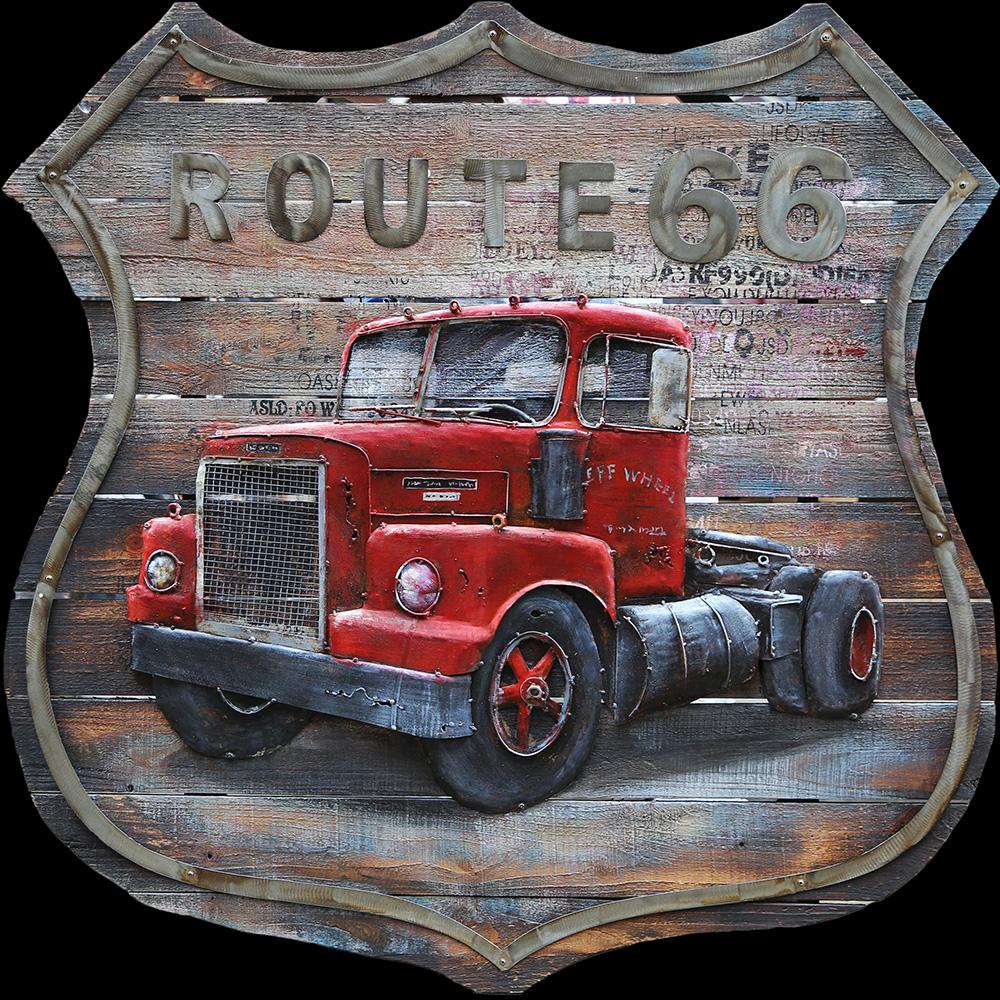 metalen schilderij rode vrachtwagen trekker route66 404