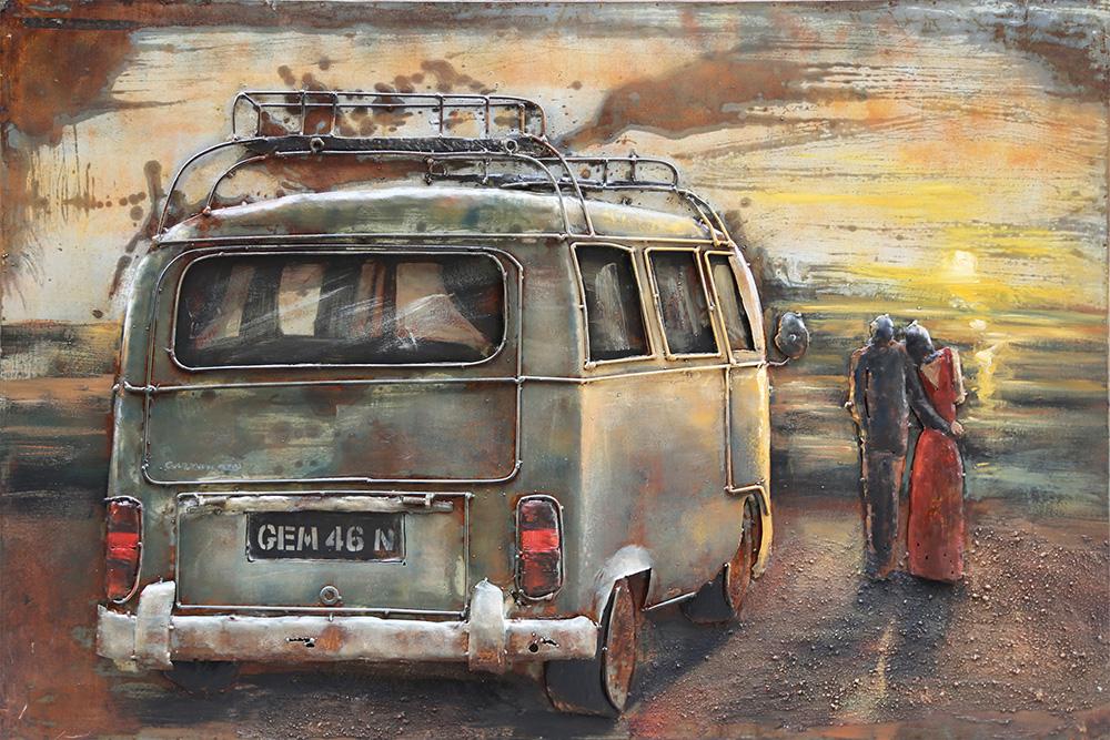 metalen schilderij vw busje camper zonsondergang 410