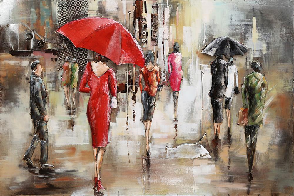 metalen schilderij wandelaars met paraplu 414