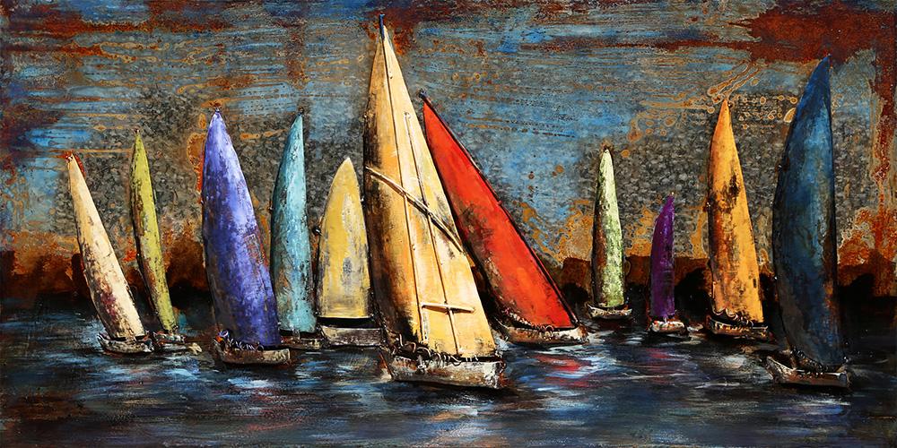 metalen schilderij zeilboten op zee 407