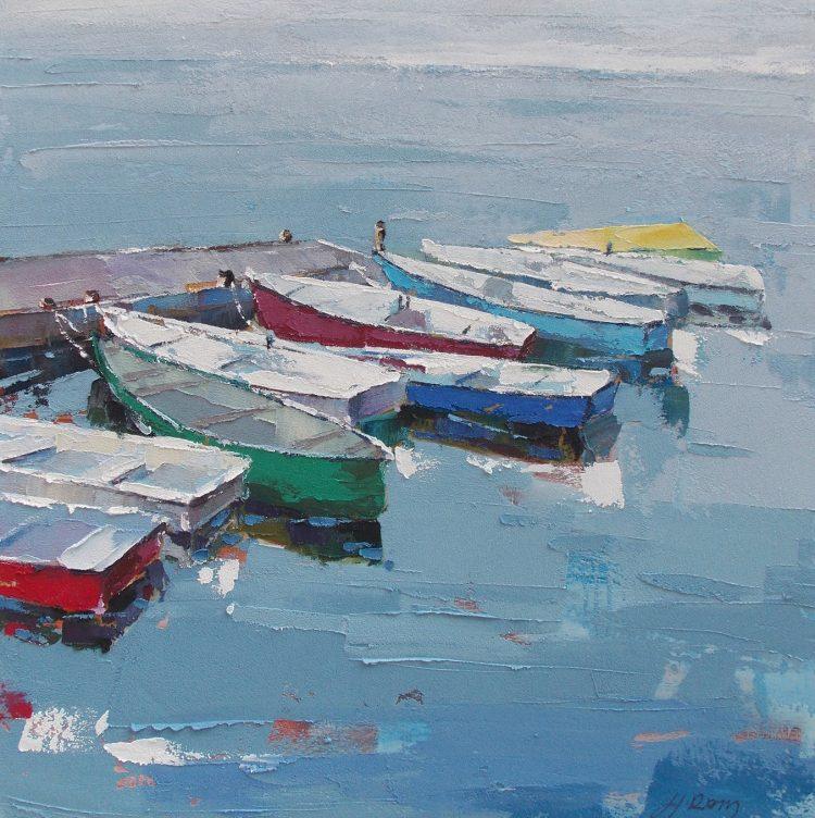 """Schilderij """"Aangemeerde bootjes"""""""