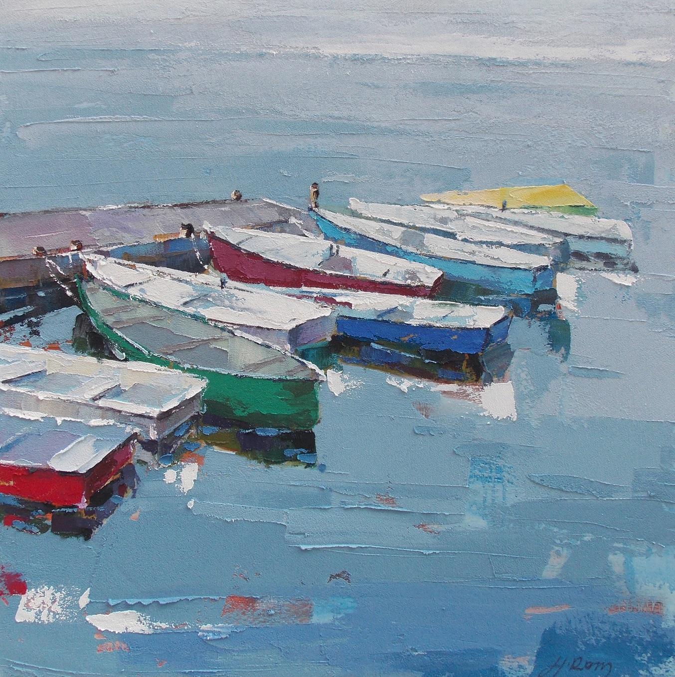 schilderij aangemeerde bootjes FA03 100x100cm