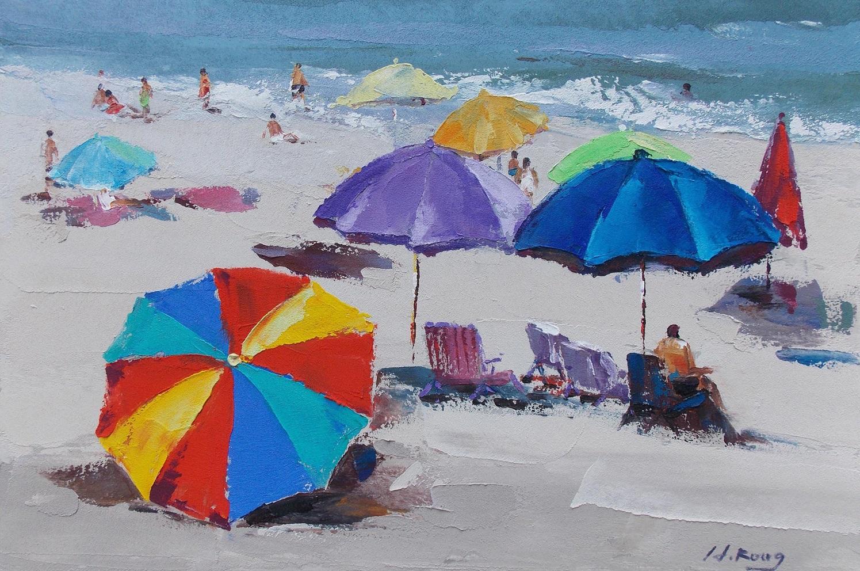 Afbeeldingsresultaat voor afbeelding schilderij strand met parasol