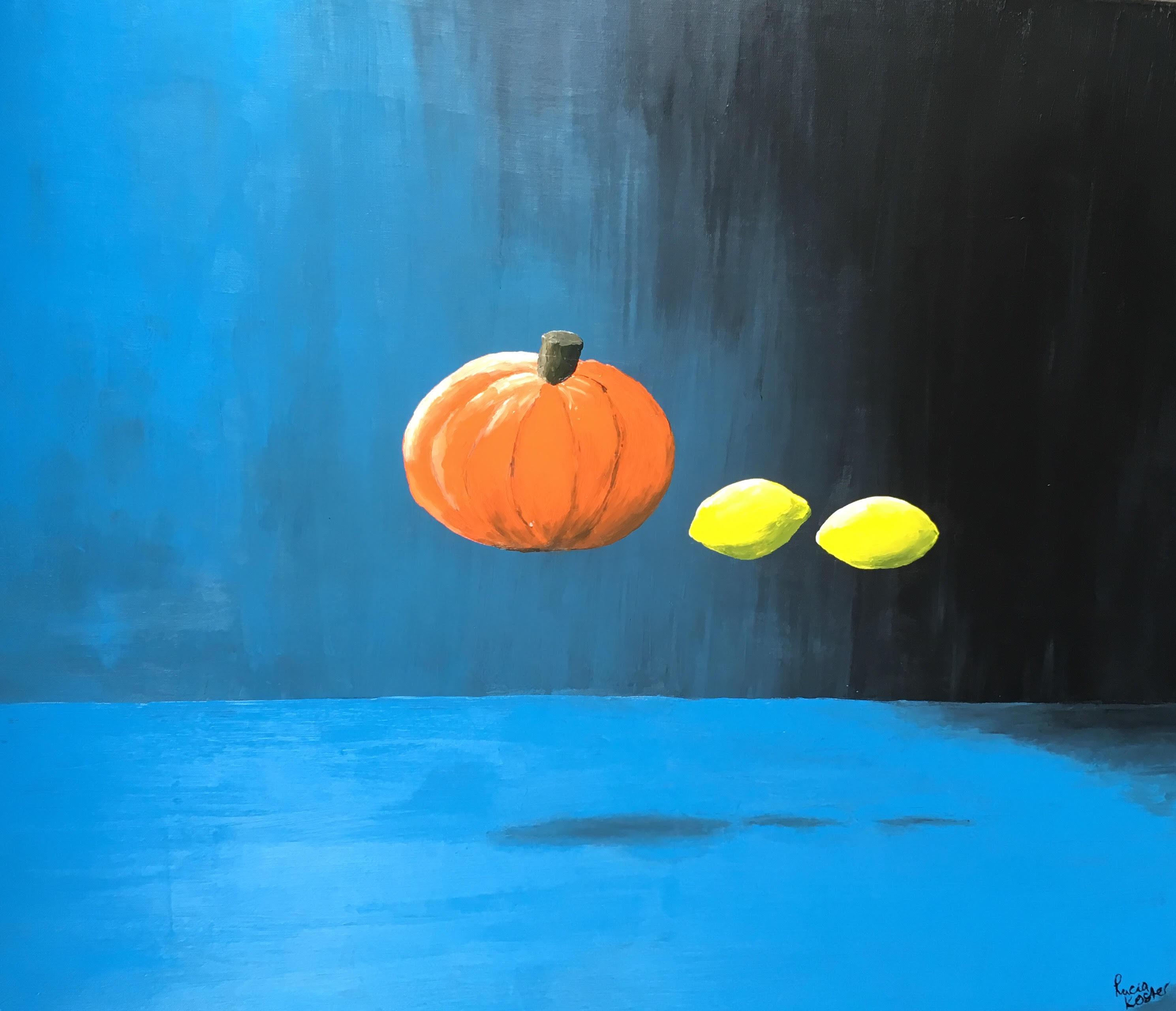 schilderij de pompoen - lucia koster