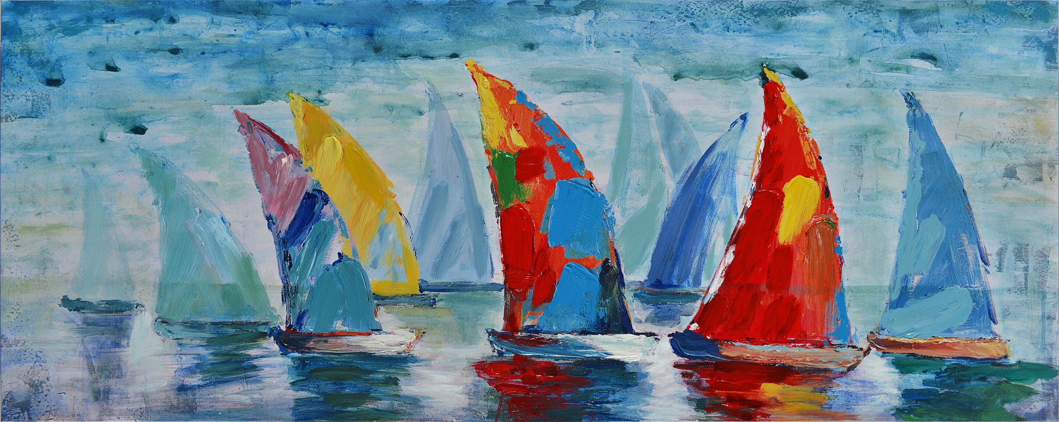 schilderij kleurrijke zeilbootjes CH88 150x60cm