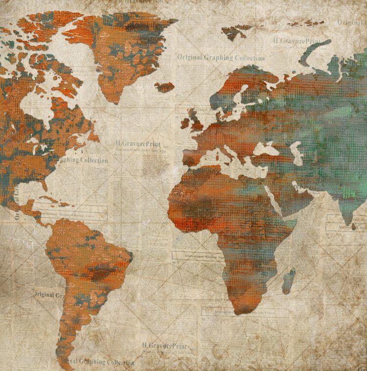 Wereldkaart krantenzee