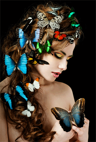 Girl with butterfly's in hair