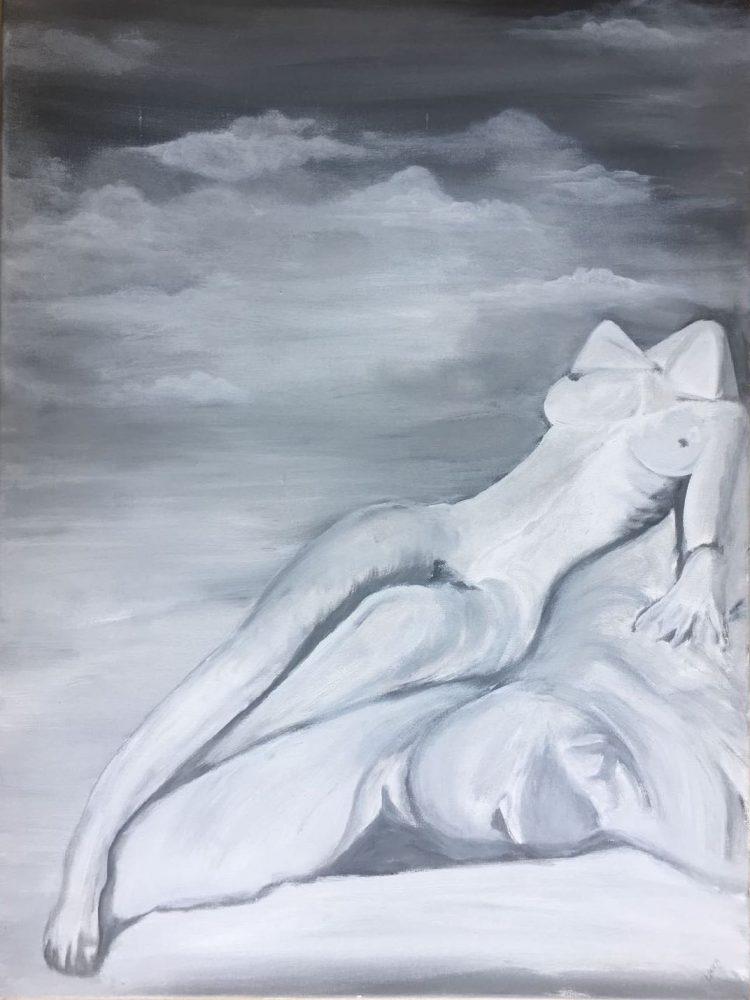"""Schilderij """"Op de wolken"""""""