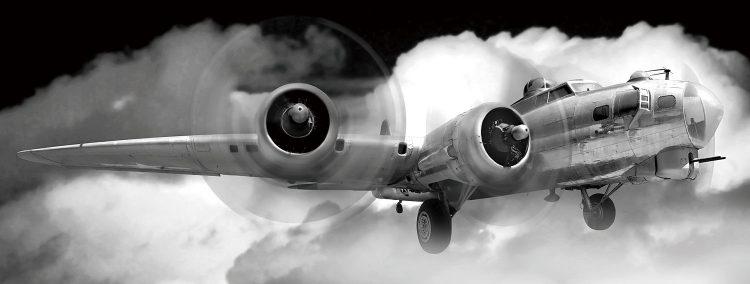 Vliegtuig door de wolken