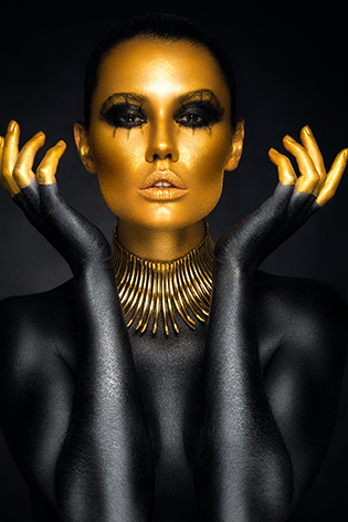 Beautiful golden woman face