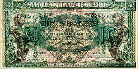 """Aluminium schilderij """"Bas – Biljet 20 Franc"""" van Mondiart"""