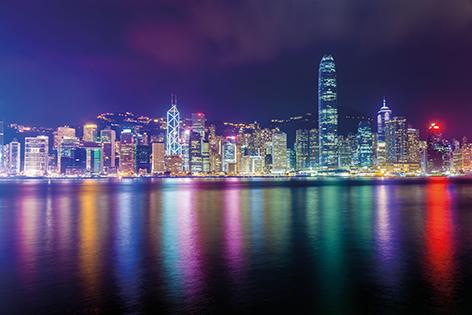 "Aluminium schilderij ""Colorful Hong Kong by night"" van Mondiart"