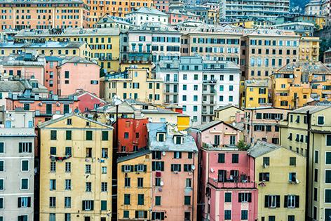 """Aluminium schilderij """"Colorful houses"""" van Mondiart"""