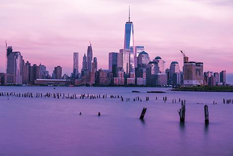 Downtown Manhattan during sunset
