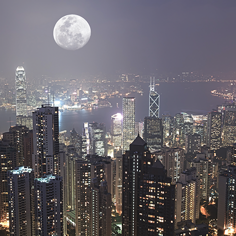 "Aluminium schilderij ""Full moon above the city of Hong Kong"" van Mondiart"