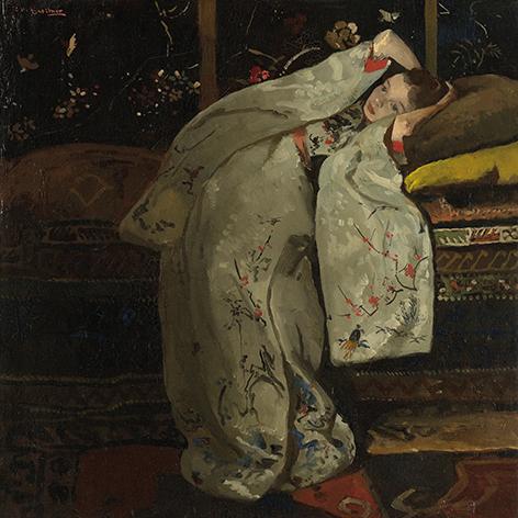 "Aluminium schilderij ""Girl in white kimono"" van Mondiart"