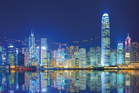 "Aluminium schilderij ""Hong Kong Island"" van Mondiart"