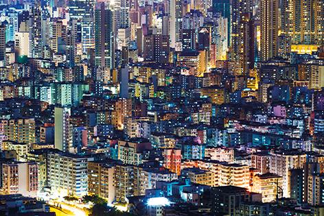 "Aluminium schilderij ""Hong Kong cityscape"" van Mondiart"