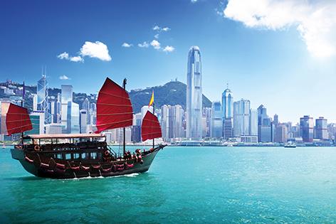 """Aluminium schilderij """"Hong Kong harbour"""" van Mondiart"""