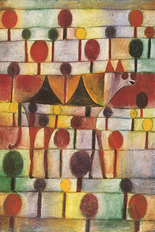 "Aluminium schilderij ""Kamel in Rhythmischer Baumland"" van Mondiart"