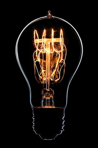 A shining light bulb