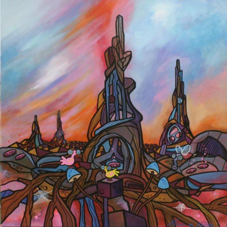 """Schilderij """"Mardeco – Utopisch landschap 7"""""""