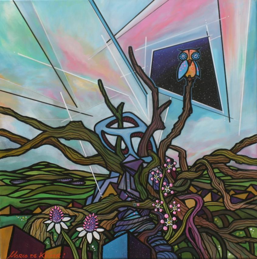 Schilderij Mardeco Fantasie Utopie Landschap Uil Natuur