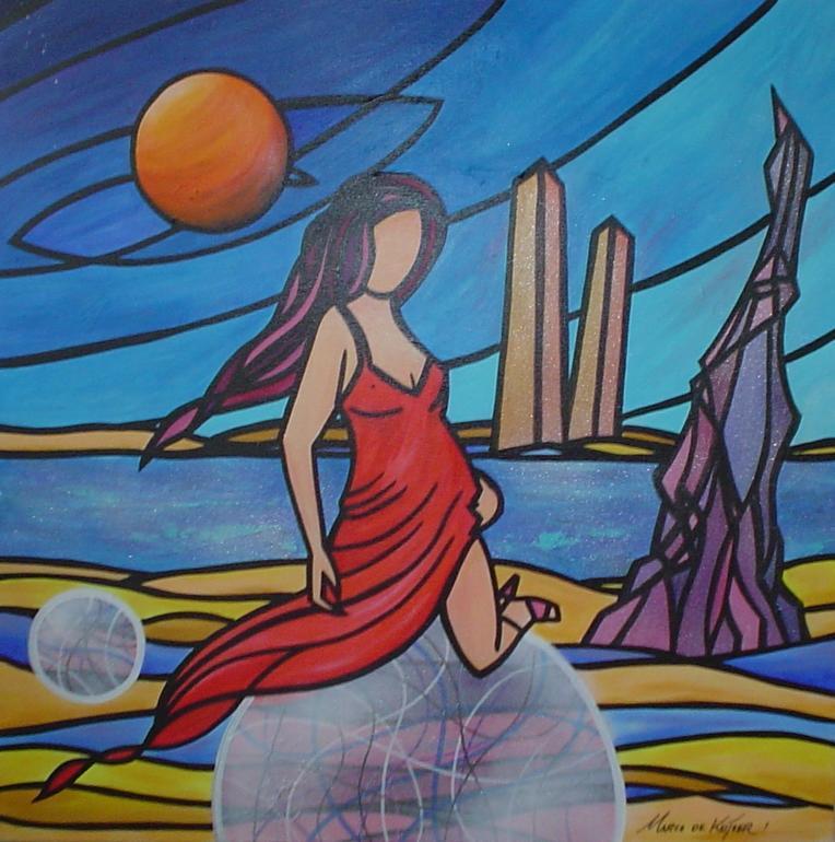 Schilderij Mardeco Fantasie Utopie Landschap Vrouw Planeet
