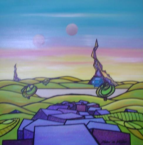 """Schilderij """"Mardeco – Utopisch landschap 1"""""""